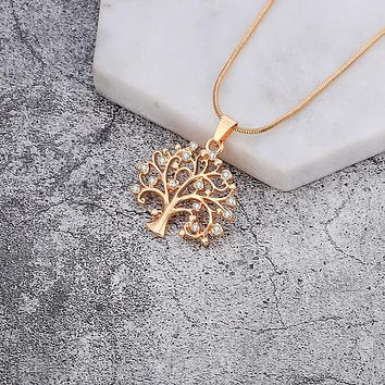 Crystal Studded Tree Of Enlightenment Necklace