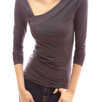 Asymmetrical Collar Long-Sleeve Knit T-Shirt