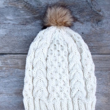 dd212c80c48 Women s Cable Knit Hat in Cream with Faux Fur Pom Pom