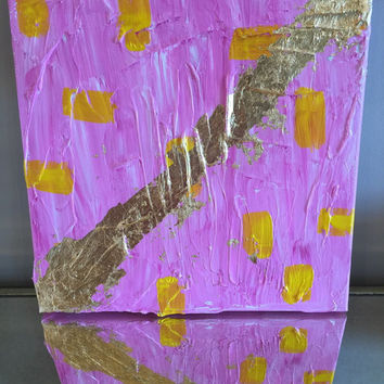 Impasto Painting, Gold Leaf Painting, Abstract Art, Original Painting, 12x12 Canvas, Gold Decor, Pink Wall Art, Pink Painting, Yellow Art