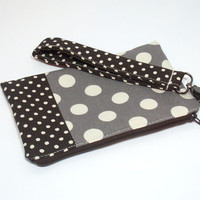 Fall Clutch Purse, Brown Polka Dot Bag, Gray Dots Clutch, Clutch with Wristlet, Cell Phone Wristlet, Phone Clutch Purse, School Clutch