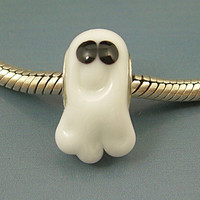 GHOST SPIRIT Handmade Lampwork Glass Halloween BHB European Charm Big Hole Bead sra Gelly
