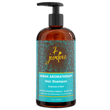 7 Jardins Premium Argan Natural Aromatherapy Shampoo - 16 oz - Best Moisturizing, Volumizing & Nourishing Shampoo for Damaged & Dry Hair with Therapeutic Essential Oils for Men & Women