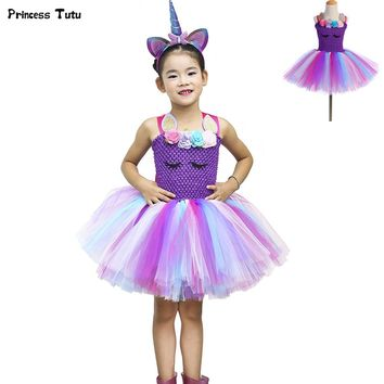 Purple Pastel Unicorn Costume Halloween Fancy Girls Tutu Dress Princess Flower Girl Birthday Party Dress Children Kids Clothes