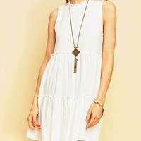 Ivory Tiered Mock Neck Dress