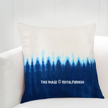 Blue  White Waves Shibori Design Indigo Pillow Sham 16x16 Inch on RoyalFurnish.com