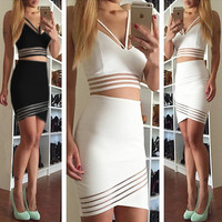irregular striped two-piece dress