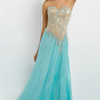 Long Strapless Two Tone Dress