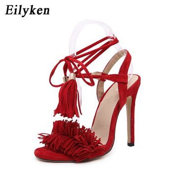 Eilyken 2018 Gladiator Women Sandals Ankle Strap Open Toe Shoes Lace Tassel Wedding Women Sandals Party Ladies Sandals Heels Red