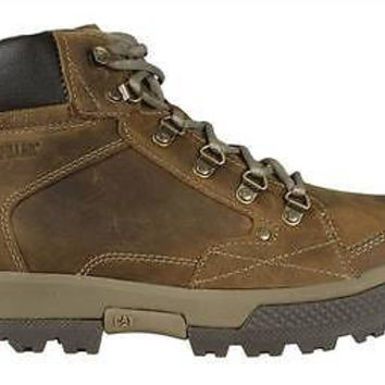 Caterpillar Mens Mid Cut Boots Duncan P715931 Dark Beige Leather
