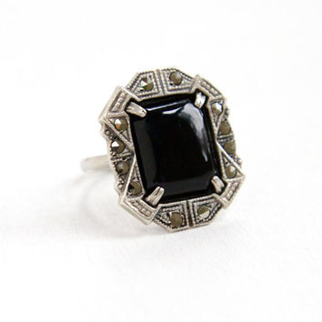 Vintage Art Deco Black Onyx & Marcasite Ring - Size 6 1930s Sterling Silver Statement Jewelry