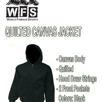 Men's Jacket - Sports Black Quilted Canvas - Many Sizes