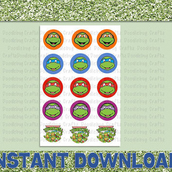 "TMNT Bottle Cap Images - Birthday Party Favor Tags - 1"" circles bottlecap - Teenage Mutant Ninja Turtles"