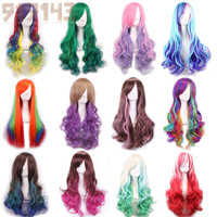 Ombre Wig  Curly Natural Synthetic Wigs Heat Resistant Halloween Cosplay Wigs