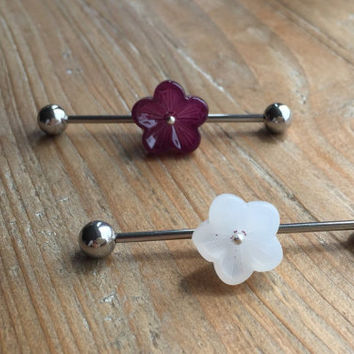 1.6mm/14ga.-purple/white flower silver Surgical Steel Industrial Barbell -summer Body jewellery