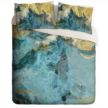 Duvet Cover with abstract art, king or queen in aqua, yellow and tan, Sea and Sand