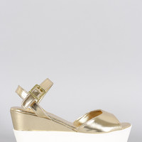 Bamboo Metallic Two Tone Wedge
