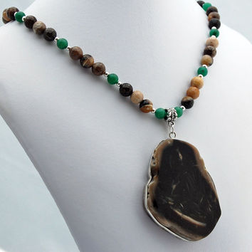 Petrified Wood Pendant with Petrified Wood and Aventurine Necklace