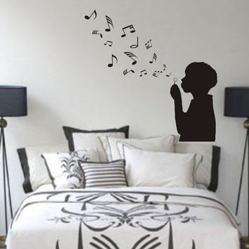 Boy Blowing Music Notes Wall Decal Sticker Bubbles Nursery Kid Room Girl Baby