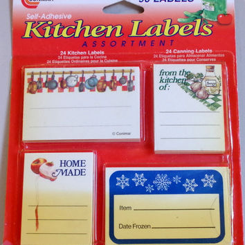 Vintage Kitchen Labels Assortment- 96 Self Adhesive Labels NIP- Mason Jar Canning Supplies- 4 Different Designs- Retro Charm by Conimar