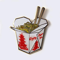 Chinese Food Take Out Box Enamel Pin (Glow-in-the-Dark)