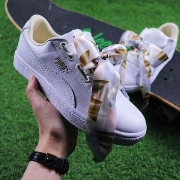 VON3TL Sale Puma Suede Heart Trainer Shoes White Gold Casual Shoes Low-Top Sneakers