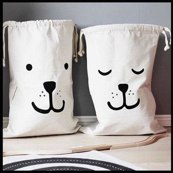 White Foldable Storage Canvas Bags Reusable Cloth Toy Bags Organizer Environmentally Friendly Cotton Fabric Tote Shopping Bags