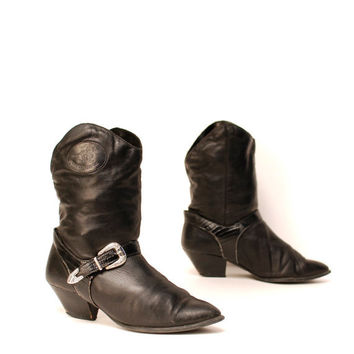 size 8 SOUTHWEST black leather 80s BIKER slouchy ankle boots
