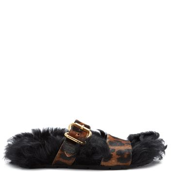 Shearling-lined calf-hair slides | Prada | MATCHESFASHION.COM UK