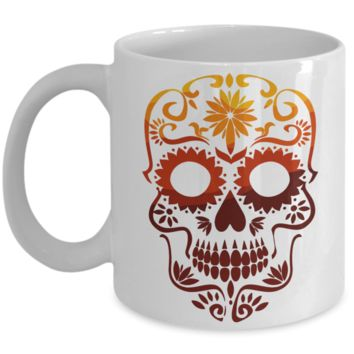 Sugar Skull Mug - Red and Yellow - Coffee / Hot Chocolate / Tea Mug - 11 oz Ceramic Cup