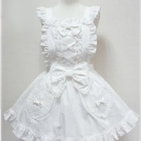 Custom Lolita Bow Bow Bow Maid Apron Dress Free Ship SP141021 from Plus Cutie