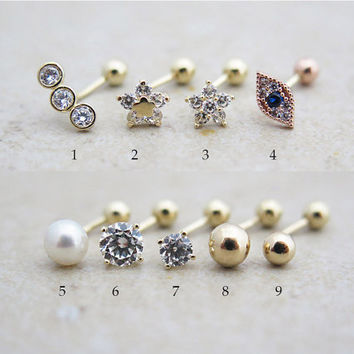 Piercing/14K solid gold earring/Rook piercing/Daith piercing/Snug piercing/Helix piercing/Cartilage earring/Curved barbell/Earring/Tragus