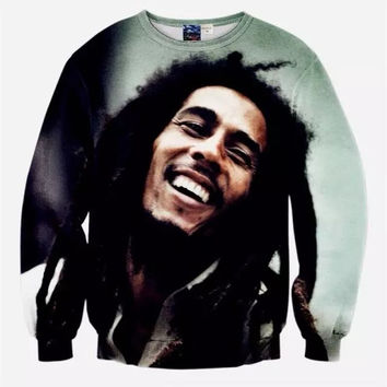 Bob Marley Tribute Crew Neck Sweatshirt Men & Women Harajuku Style All Over Print Sweater