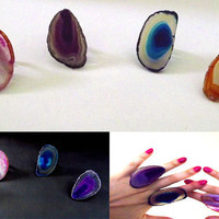 Agate slice ring, crystal rings, geode ring, boho rings, indie, gypsy jewelry