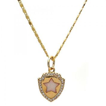 Gold Layered Fancy Necklace, Star Design, with Opal and Micro Pave, Gold Tone