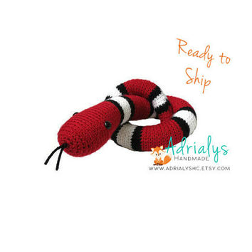 Crochet Snake- Crochet Animals, Stuffed Red Snake, Striped Snake, Snake Plush, Handmade Snake, Crochet Toy, Amigurumi, Ready to Ship