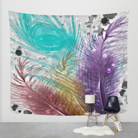 Feathers and Ink Wall Tapestry by DuckyB (Brandi)