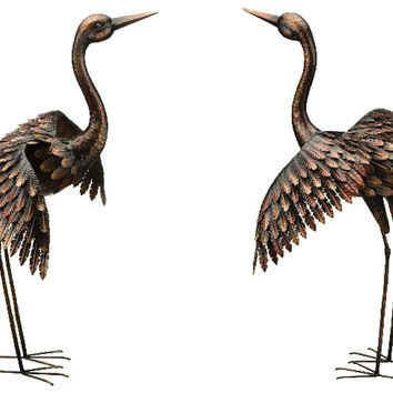 Bronze Finished Heron With Extended Wings Metal Garden Statuary (Set of 2)