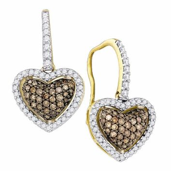 10kt Yellow Gold Womens Cognac-brown Color Enhanced Diamond Heart Dangle Earrings 5-8 Cttw - FREE Shipping (US/CAN)