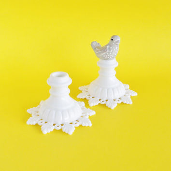 Lace Edge Milk Glass Candle Stick Holders Set of 2