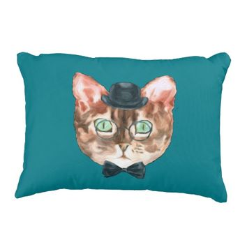 Fancy Cat Lovers Decor Top Hat Glasses Decorative Pillow