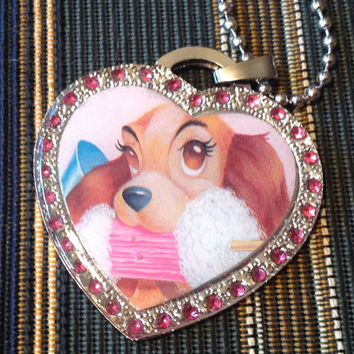 Disney Lady and the Tramp Silver With Pink Rhinestones Heart Shaped Dog Tag Necklace