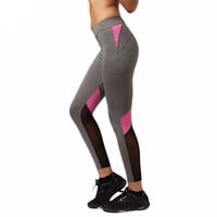Women Yoga Pants Hollow Out  Net Yarn Splicing Yoga Capris for Running Sport Quick-drying Fitness Tights Woman Leggings