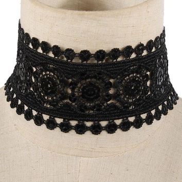 "13"" black lace necklace 2.25"" wide"
