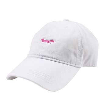Longshanks Solid Pink Logo Hat in White Twill by Country Club Prep