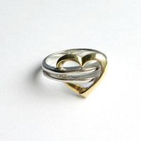 Vintage Sterling Silver and Gold Accent Heart Ring Size 6.75