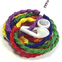 MyBuds Wrapped Tangle-Free Earbuds | Rainbow | for iPhone iPod iPad Samsung 3.5mm without Microphone and Volume Control