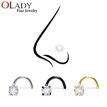 ac PEAPO2Q Fashion Stainless Steel 3MM Crystal Rhinestone Nose Studs Hooks Bar Pin Nose Rings Body Piercing Jewelry For Women
