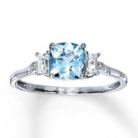 Aquamarine Ring With Sapphires & Diamonds 10K White Gold