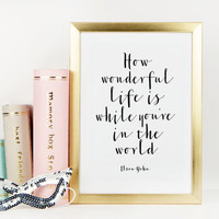 ELTON JOHN SONG,How Wonderful Life Is While You're In The World,Elton John Lyric,Inspirational Print,Wall Art,Printable Quote,Life Quote